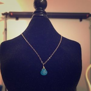 Jewelry - Hand made turquoise colored glass charm necklace